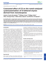 Contrasted effect of CO on the metal-catalyzed cycloisomerization of O-tethered enynes derived from monoterpenes.