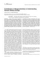 Contributions of biogeochemistry to understanding hominin dietary ecology.