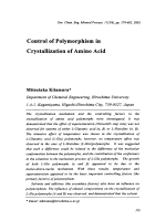 Control of Polymorphism in Crystallization of Amino Acid.