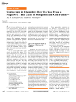 Controversy in Chemistry  How Do You Prove a NegativeЧThe Cases of Phlogiston and Cold Fusion.