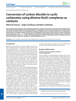 Conversion of carbon dioxide to cyclic carbonates using diimine Ru(II) complexes as catalysts.