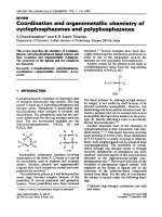 Coordination and organometallic chemistry of cyclophosphazenes and polyphosphazenes.