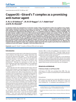 Copper(II)ЦGirard's T complex as a promising anti-tumor agent.