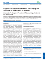 Copper-catalyzed asymmetric 1 4-conjugate addition of dialkylzinc to enones.