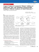 Copper-Catalyzed Asymmetric Michael Addition of Magnesium  Zinc  and Aluminum Organometallic Reagents  Efficient Synthesis of Chiral Molecules.