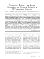Correlation between neurological progression and astrocyte apoptosis in HIV-associated dementia.
