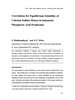 Correlation for Equilibrium Solubility of Calcium Sulfate Phases in Industrial Phosphoric Acid Production.
