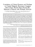 Correlation of clinical features and findings on cranial magnetic resonance imaging with urinary myelin basic protein-like material in patients with multiple sclerosis.