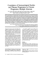 Correlation of immunological studies and disease progression in chronic progressive multiple sclerosis.