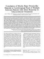 Correlation of myelin basic protein-like material in cerebrospinal fluid of multiple sclerosis patients with their response to glucocorticoid treatment.