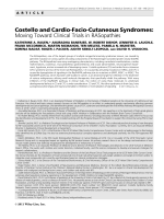 Costello and cardio-facio-cutaneous syndromes  Moving toward clinical trials in RASopathies.
