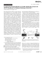 Covalent Post-Functionalization of Zeolitic Imidazolate Framework ZIF-90 Membrane for Enhanced Hydrogen Selectivity.