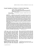 Cranial variables as predictors of hominine body mass.