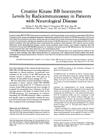 Creatine kinase BB isoenzyme levels by radioimmunoassay in patients with neurological disease.