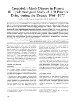 Creutzfeldt-Jakob disease in France  III. Epidemiological study of 170 Patients dying during the decade 1968Ц1977