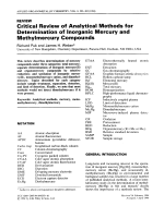 Critical review of analytical methods for determination of inorganic mercury and methylmercury compounds.