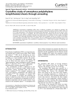 Crystalline study of amorphous poly(ethylene terephthalate) sheets through annealing.
