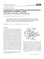 Crystallographic report  A polymorph of undecasodium decatrimethylsilanolate hydroxide  [Na11(OSiMe3)10(OH)].