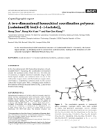 Crystallographic report  A two-dimensional homochiral coordination polymer  [cadmium(II) bis(S-()-lactate)]n.