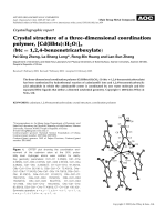 Crystallographic report  Crystal structure of a three-dimensional coordination polymer  [Cd(Hbtc)(H2O)]n (btc = 1  2  4benzenetricarboxylate).