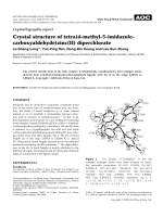 Crystallographic report  Crystal structure of tetra(4-methyl-5-imidazole-carboxyaldehyde)zinc(II) diperchlorate.