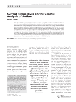 Current perspectives on the genetic analysis of autism.
