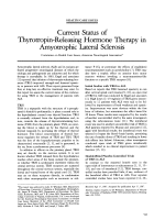 Current status of thyrotropin-releasing hormone therapy in amyotrophic lateral sclerosis.