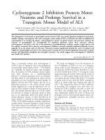 Cyclooxygenase 2 inhibition protects motor neurons and prolongs survival in a transgenic mouse model of ALS.