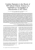 Cytokine expression in the muscle of HIV-infected patients  Evidence for interleukin-1 accumulation in mitochondria of AZT fibers.