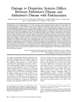 Damage to dopamine systems differs between parkinson's disease and alzheimer's disease with parkinsonism.