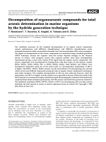 Decomposition of organoarsenic compounds for total arsenic determination in marine organisms by the hydride generation technique.
