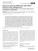 Decrease of arsenic in edible brown algae Hijikia fusiforme by the cooking process.