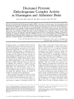Decreased pyruvate dehydrogenase complex activity in Huntington and Alzheimer brain.