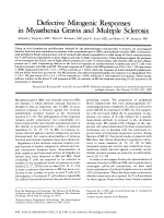 Defective mitogenic responses in myasthenia gravis and multiple sclerosis.