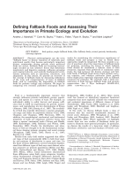 Defining fallback foods and assessing their importance in primate ecology and evolution.