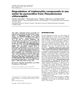 Degradation of triphenyltin compounds in sea water by pyoverdins from Pseudomonas chlororaphis.