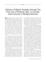 Delivery of myelin peptides through the first line of defense  skin  to counter autoimmunity in multiple sclerosis.