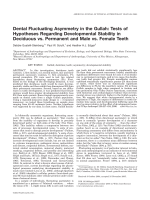 Dental fluctuating asymmetry in the Gullah  Tests of hypotheses regarding developmental stability in deciduous vs. permanent and male vs. female teeth