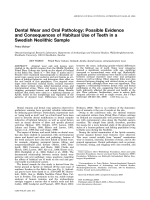 Dental wear and oral pathology  Possible evidence and consequences of habitual use of teeth in a Swedish Neolithic sample.