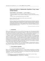 Design and Analysis of Optimization Algorithms Using Computational Statistics.