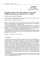 Desorption kinetics and surface diffusion of potassium  rubidium and cesium on a silicon(111)7  7-surface.