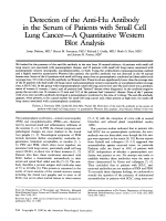 Detection of the anti-Hu antibody in the serum of patients with small cell lung cancerЧA quantitative western blot analysis.