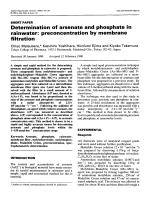 Determination of arsenate and phosphate in rainwater  Preconcentration bt membrane filtration.