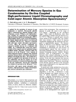 Determination of mercury species in gas condensates by on-line coupled high-performance liquid chromatography and cold-vapor atomic absorption spectrometry.
