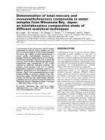 Determination of total mercury and monomethylmercury compounds in water samples from Minamata Bay  Japan  an interlaboratory comparative study of different analytical techniques.