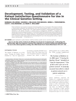 Development  testing  and validation of a patient satisfaction questionnaire for use in the clinical genetics setting.