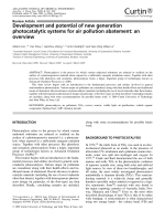 Development and potential of new generation photocatalytic systems for air pollution abatement  an overview.