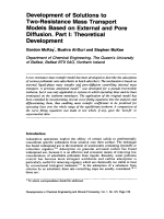 Development of Solutions to Two-Resistance Mass Transport Models Based on External and Pore Diffusion. Part I  Theoretical Development