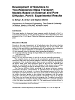 Development of Solutions to Two-Resistance Mass Transport Models Based on External and Pore Diffusion. Part II  Experimental Results