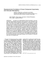 Developmental correlates of crown component asymmetry and occlusal discrepancy.